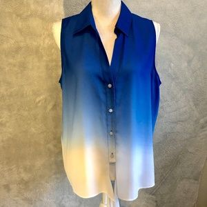 ⭐️3 FOR $50 Sleeveless Collared Blue Ombre Top